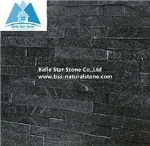 Black Quartzite Culture Stone,Black Z Clad Stone Cladding,Natural Ledger Panels,Porches Stacked Stone,Interior Black Thin Stone Veneer,Outdoor Quartzite Wall Panel