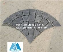 Black Riven Slate Fan Pattern Meshed Flagstone,Charcoal Grey Split Face Slate Flagstone Walkway,Slate Flagstone Driveway,Natural Flagstone Patio,Black Flagstone Pavers