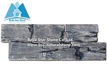 Black Slate Stacked Stone,Charcoal Grey Slate Z Clad Stone Cladding,Natural Cemented Ledgestone Panels,Outdoor Carbon Black Culture Stone Veneer,Real Stone Panel