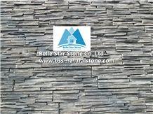 Black Split Face Slate Cemented Ledgestone,Charcoal Grey Slate Mini Stacked Stone,Carbon Black Slate Cemented Z Stone Cladding,Natural Mini Stone Veneer,Landscaping Wall Culture Stone,Ledger Panels