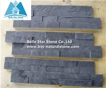 Black Split Face Slate Ledgerstone Panels,Charcoal Grey Slate Thin Stone Veneer,Carbon Black Slate Stacked Stone,Cheap Price Natural Z Clad Stone Cladding,Outdoor Wall Panel