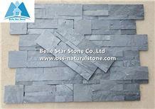 Black Split Face Slate S Clad Ledgestone Panels,Charcoal Grey Slate Stacked Stone,High Quality Carbon Black Slate Thin Stone Veneer,18x35cm Natural Stone Wall Panels,Backsplash Culture Stone