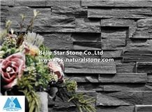 Black Split Face Slate Stacked Stone,Charcoal Grey Culture Stone,Carbon Black Slate Stone Cladding,Natural Stone Veneer,Fireplace Wall Ledger Panels,Slate Stone Facade,Exterior Stone Wall Panels