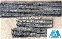 Charcoal Grey Slate Mini Stacked Stone,Black Slate Waterfall Shape Ledgestone,Carbon Black Slate Culture Stone,Black Stone Panel for Landscaping Wall Decoration,Natural Stone Cladding