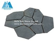 China Black Riven Slate Meshed Flagstone,Charcoal Grey Slate Flagstone Patio,Split Face Slate Flagstone Pavers,Carbon Black Flagstone Walkway Pavers,Natural Stone Flagstone Wall