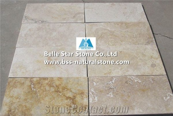 Chinese Beige Travertine Tiles Brushed Floor Honed Patio Stones Polished Wall Filled Holes