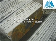 Chinese Multicolor Riven Slate Steps,Rusty Slate Stairs,Copper Rust Slate Stair Treads,Sunset Slate Stair Risers,Multicolour Slate Staircase,Autumn Rose Stone Steps
