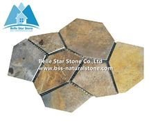 Chinese Multicolour Riven Slate Meshed Flagstone,Rusty Split Face Slate Flagstone Patios,Sunset Slate Flagstone Pavers,Copper Rust Slate Flagstone Wall,Autumn Rose Flagstone Walkway Pavers