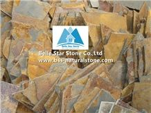 Chinese Multicolour Riven Slate Random Flagstone,Rusty Split Face Slate Crazy Stone,Copper Rust Slate Irregular Flagstone,Sunset Slate Flagstone Pavers,Multicolor Slate Flagstone Patio,Flagstone