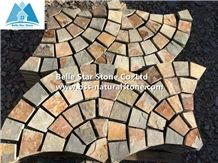 Chinese Multicolour Slate Fan Flagstone Patio,Sunset Slate Fan Flagstone Walkway Pavers,Rusty Slate Flagstone Paving,Copper Rust Slate Flagstone Driveway,Autumn Rose Flagstone Courtyard