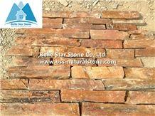 Chinese Multicolour Slate Fieldstone Veneer,Copper Rust Slate Thin Ledgestone,Sunset Slate Random Stone Veneer,Autumn Rose Loose Ledge Stone,Rusty Slate Real Field Stone Cladding