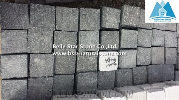 Flamed Black Quartzite Cube Stone Quartzite Walkway Pavers