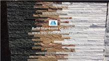 Natural Mini Staked Stone,Waterfall Shape Ledgestone,Retaining Wall Stone Panel,Landscaping Wall Culture Stone,Black Quartzite Yellow Sandstone White Quartzite Slim Stone Veneer,Natural Stone Cladding