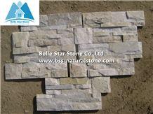 Off White Quartzite 18x35 S Clad Stone Cladding,Milk Cream Stacked Stone,White Quartzite Ledgestone Panels,Natural Stone Panel,Ivory Thin Stone Veneer