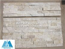 Off-White Quartzite Ledgestone,Ivory Quartzite Stacked Stone,Milk White Quartzite Thin Stone Veneer,Natural Stone Panel,Ivory Stone Cladding,Outdoor Wall Ledger Panels,Porches Culture Stone