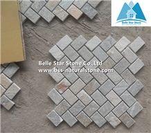 Oyster Split Face Mosaic,Desert Gold Quartzite Mosaic Wall,Golden Honey Quartzite Floor Mosaic,Silver Sunset Quartzite Mosaic Pattern,Gold White Quartzite Mosaic Tiles,Natural Stone Mosaic