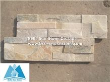 Oyster Split Face Slate S Clad Stacked Stone,Golden Honey Quartzite Thin Stone Veneer,Desert Gold Quartzite Ledgestone,Silver Sunset Culture Stone,Natural Stone S Cut Wall Panel