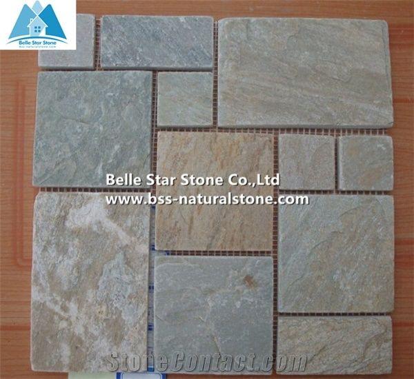 Oyster Split Face Slate Wall Mosaic Desert Gold Quartzite Stone Golden Honey Floor White Pattern Silver Sunset