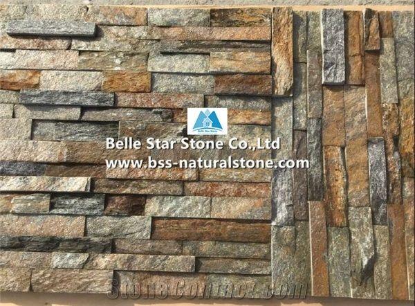 Rustic Quartzite LedgestoneNatural Culture StoneFireplace Wall Stacked StonePorches Stone VeneerOutdoor PanelIndoor