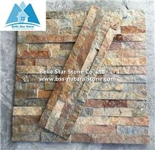 Rustic Quartzite Stone Cladding,Multicolor Quartzite Stacked Stone,Silver Sunset Quartzite Culture Stone,Natural Thin Stone Veneer,Outdoor Quartzite Ledge Stone,Indoor Stone Wall Panel