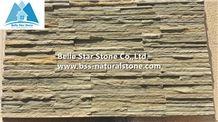 Sienna Yellow Split Face Slate Mini Stacked Stone,Tan Color Slate Waterfall Shape Ledgestone,Cinnamon Color Thin Stone Veneer,Natural Stone Cladding,Landscaping Wall Panel,Real Culture Stone