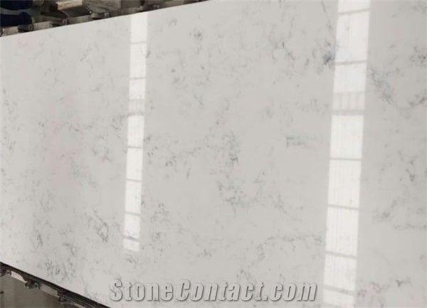 Artificial Bianco Carrara White Quartz Stone Slabs For