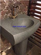 G654 Dark Grey/Gray Granite Pedestal Basins,Sesame Black Basins,Padang Dark Granite Basins,Square Basins,Square Sinks,Bathroom Sinks,Bathroom Basins,Wash Basins