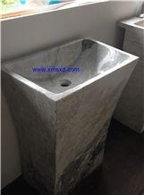 Yabo Grey/Gray Marble Pedestal Basins,Bathroom Sinks,Wash Basins,Square Basins,Square Sinks,Natural Stone Pedestal Basins,Marble Stone Basins