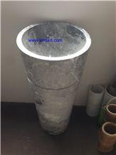 Yabo Grey/Gray Marble Sinks,Vessel Sinks,Pedestal Basins,Bathroom Sinks,Hotel Pedestal Basins,Round Basins,Round Sinks