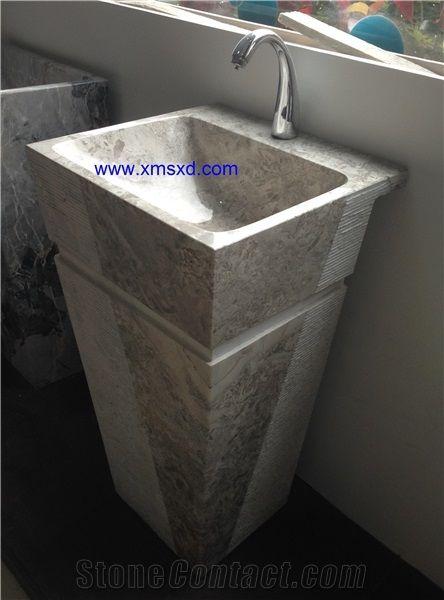 Ordinaire Yabo Grey/Gray Pedestal Basins,Vessel Sinks,Wash Basins,Square  Basins,Square Sinks,Natural Stone Pedestal Sinks,Marble Sinks,Marble Basins