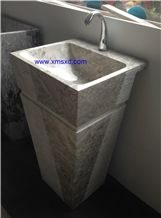 Yabo Grey/Gray Pedestal Basins,Vessel Sinks,Wash Basins,Square Basins,Square Sinks,Natural Stone Pedestal Sinks,Marble Sinks,Marble Basins
