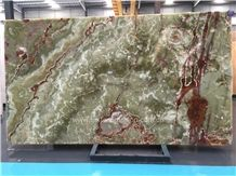 Best Price Green Onyx Polished Tiles & Slabs/Natural Luxury Building Stone Onyx with Brown Veins/Lines/Flooring/Feature Wall/Clading/Hotel Lobby/Bathroom/Living Room Project Decoration