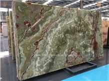 Popular Luxury Green Onyx Polished Tiles & Slabs/Natural Building Stone Onyx with Brown Veins/Lines/Flooring/Feature Wall/Clading/Hotel Lobby/Bathroom/Living Room Project Decoration
