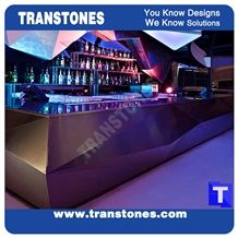 3d Surface Custom Design Black Aritificial Marble Stone Round Bar Tops,Club Reception Desk Table Design,Solid Surface Engineered Stone Countertops,Transtones Customized