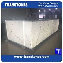 Artificial Bianco Carrara Marble Translucent Backlit Bar Tops,Club Kitchen Tops,Engineered Stone Panel for Tabletop, Solid Surface Glass Stone,Transtones Customized
