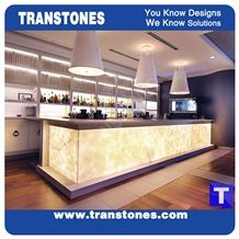 Artificial Crystal White Onice Onyx Translucent Backlit Bar Tops,Bianco Alabaster Club Kitchen Tops,Engineered Stone Panel for Tabletop, Solid Surface Glass Stone,Design Customized