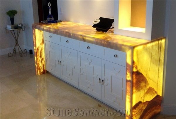 Artificial Honey Onyx Translucent Backlit Kitchen