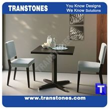 Black Artificial Stone Marble Restaurant Dinner Table Desk,Square Engineered Stone Solid Surface Reception Desk Interior Stone Design Acrylic Hotel Furniture,Transtones Customized