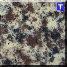 Chocolate Beige Crystal Dark Brown Quartz Stone Tiles,Slabs,Engineered Stone Solid Surface Granite Look Quartz Sheet Stone Walling Panel for Kitchen Countertops,Vanity Tops