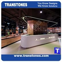 Circle Round Custom Design Pure White Quartz Aritificial Marble Stone Bar Tops,Club Reception Desk Table Design,Solid Surface Engineered Stone Countertops,Transtones Customized