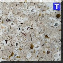 Crystal Beige Brown Glass Quartz Stone Tiles,Slabs,Engineered Stone Solid Surface Granite Look Quartz Sheet Stone Walling Panel for Kitchen Countertops,Vanity Tops