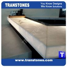 Crystal Ice White Artificial Onice Onyx Translucent Backlit Bar Tops,Bianco Club Kitchen Tops,Engineered Stone Alabaster Panel for Tabletop, Solid Surface Glass Stone,Transtones Customized