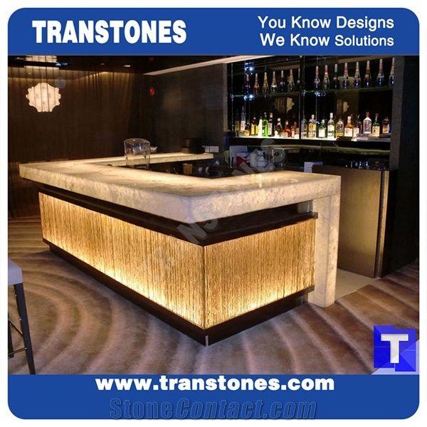 Crystal Ice White Onice Onyx Translucent Backlit Bar Tops