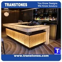 Crystal Ice White Onice Onyx Translucent Backlit Bar Tops,Bianco Artificial Onyx Club Kitchen Tops,Engineered Stone Alabaster Tiles for Tabletop, Solid Surface Panel Glass Stone,Transtones Customized