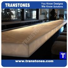 Crystal Ice White Onice Translucent Backlit Bar Tops,Bianco Artificial Onyx Club Kitchen Tops,Engineered Stone Alabaster Panel for Tabletop, Solid Surface Glass Stone,Transtones Customized