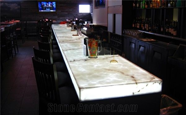 Crystal Ice White Onyx Translucent Backlit Onice Bar Tops ...