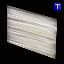 Crystal White Wood Vein Artificial Alabaster Backlit Tile Walling Cladding Panel,Engineered Glass Onyx Translucent Stone Wooden Grain Tiles for Walling,Transtones Customized