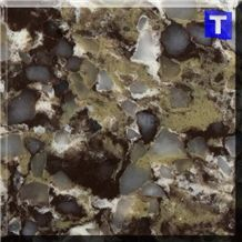 Diamond Crystal Dark Brown Quartz Stone Tiles,Slabs,Engineered Stone Solid Surface Granite Look Quartz Sheet Stone Walling Panel for Kitchen Countertops,Vanity Tops