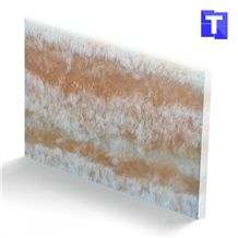 Fantasty Translucent Backlit Crystal Pink Wooden Vein Artificial Onyx Tile,Engineered Stone Alabaster Tiles Slabs for Tabletop Bar Tops Cladding,Wall Panel,Glass Stone Wood Grain,Transtones Customized