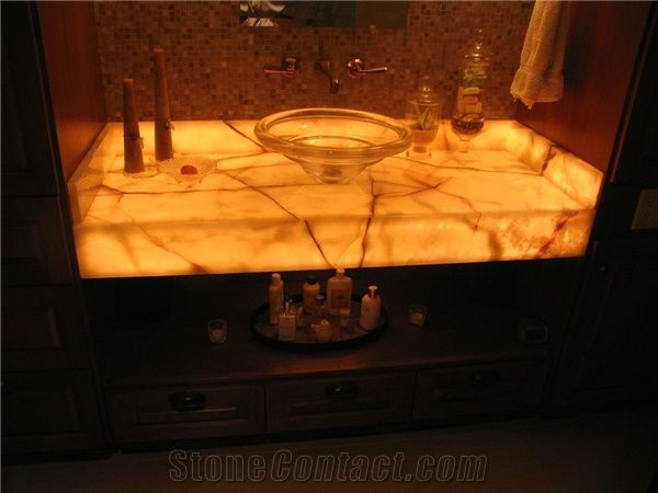 Golden Solid Surface Artificial Onyx, Onyx Bathroom Countertops